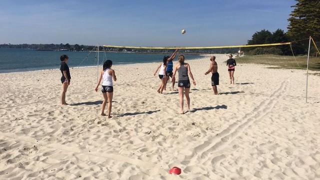 Entretien physique à la plage