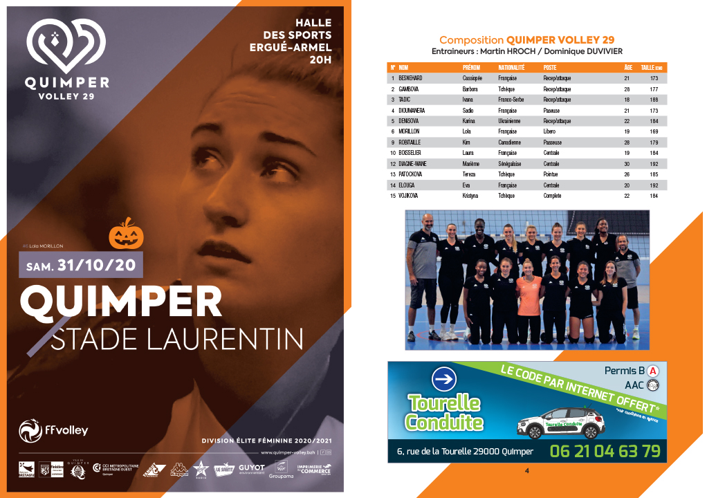 Programme de match : Quimper Volley 29 – Stade Laurentin
