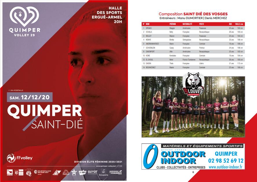 Programme de match : Quimper Volley 29 – St Dié Des Vosges